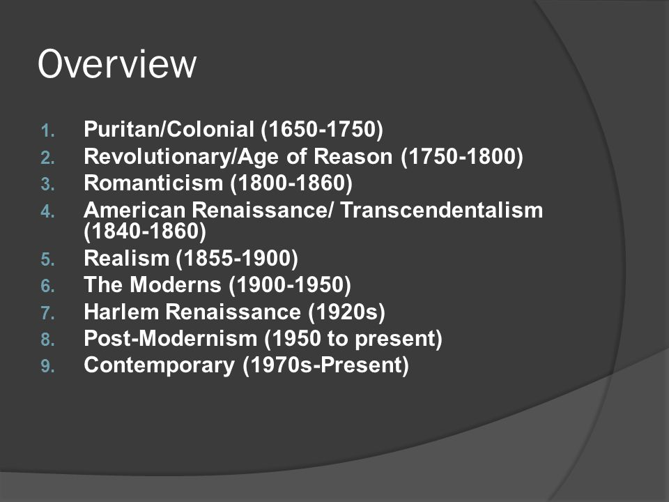 Overview Puritan/Colonial (1650-1750)