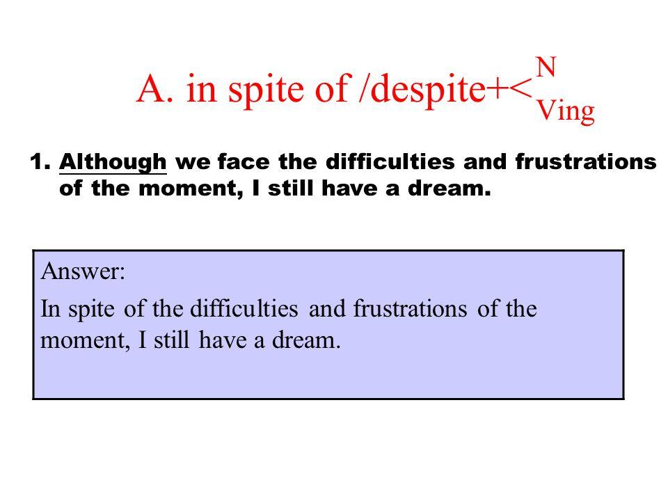 A. in spite of /despite+<