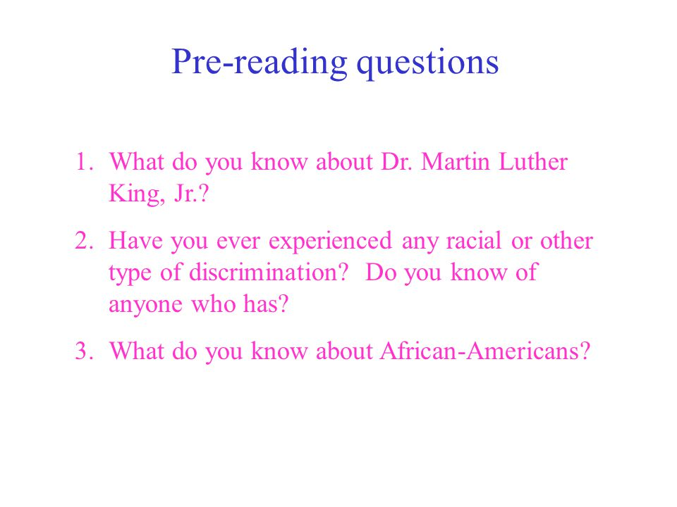 Pre-reading questions