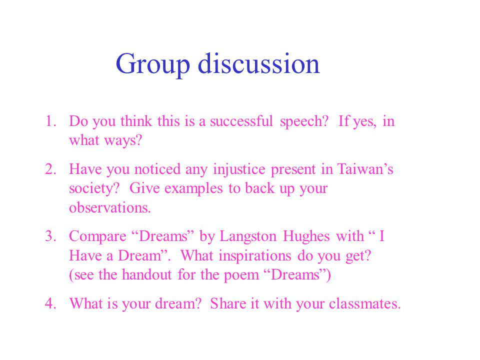Group discussion Do you think this is a successful speech If yes, in what ways