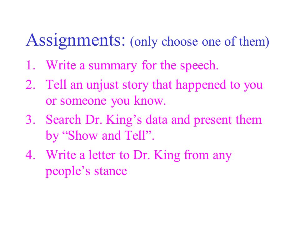 Assignments: (only choose one of them)