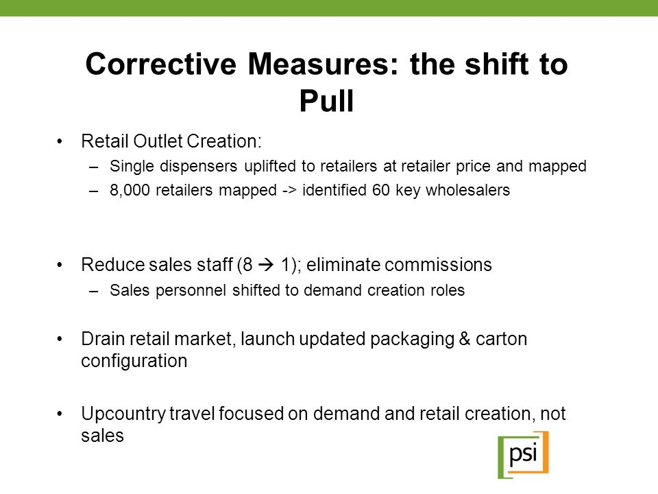 Corrective Measures: the shift to Pull