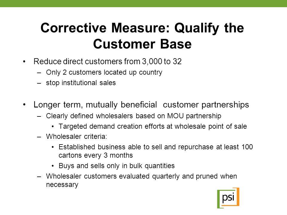 Corrective Measure: Qualify the Customer Base