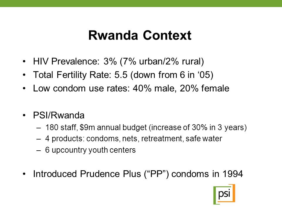 Rwanda Context HIV Prevalence: 3% (7% urban/2% rural)