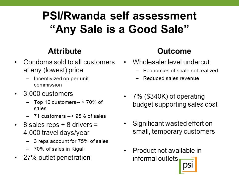 PSI/Rwanda self assessment Any Sale is a Good Sale
