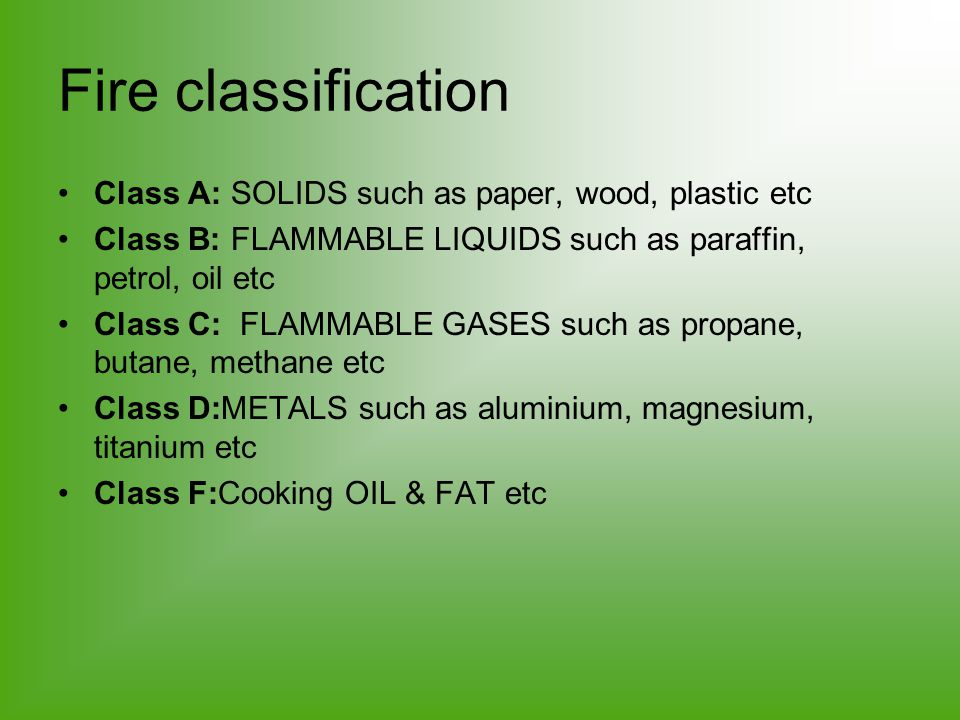 Fire classification Class A: SOLIDS such as paper, wood, plastic etc