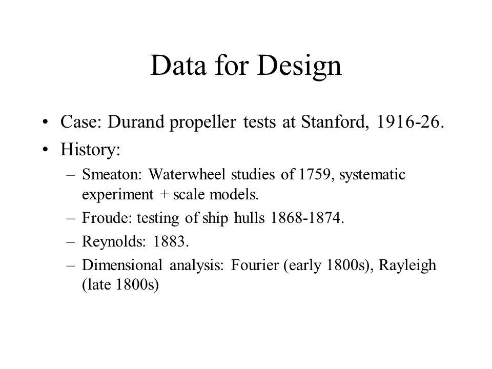 Data for Design Case: Durand propeller tests at Stanford, 1916-26.