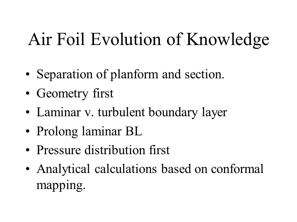 Air Foil Evolution of Knowledge