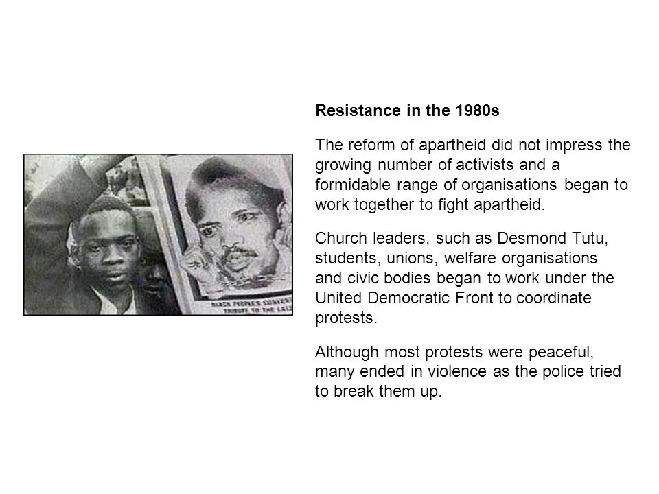 Resistance in the 1980s