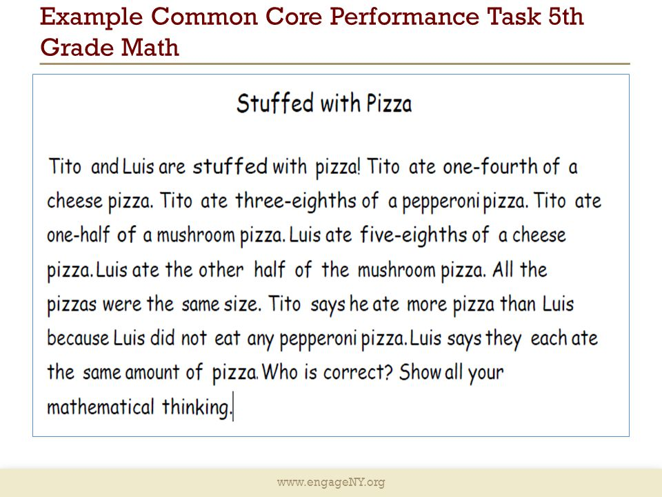 Example Common Core Performance Task 5th Grade Math