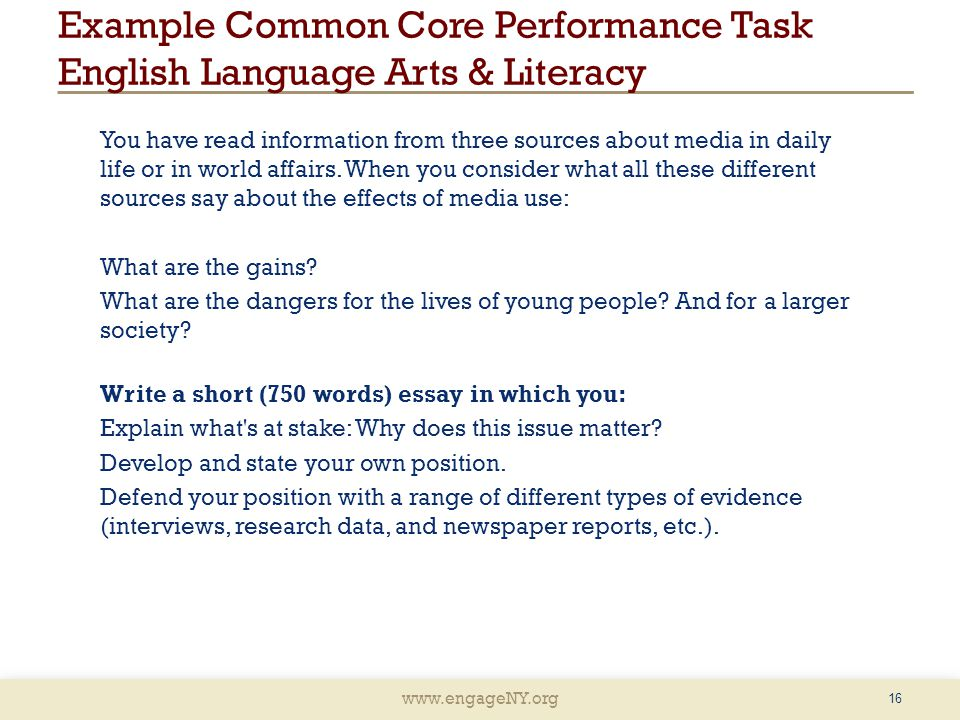 Example Common Core Performance Task English Language Arts & Literacy