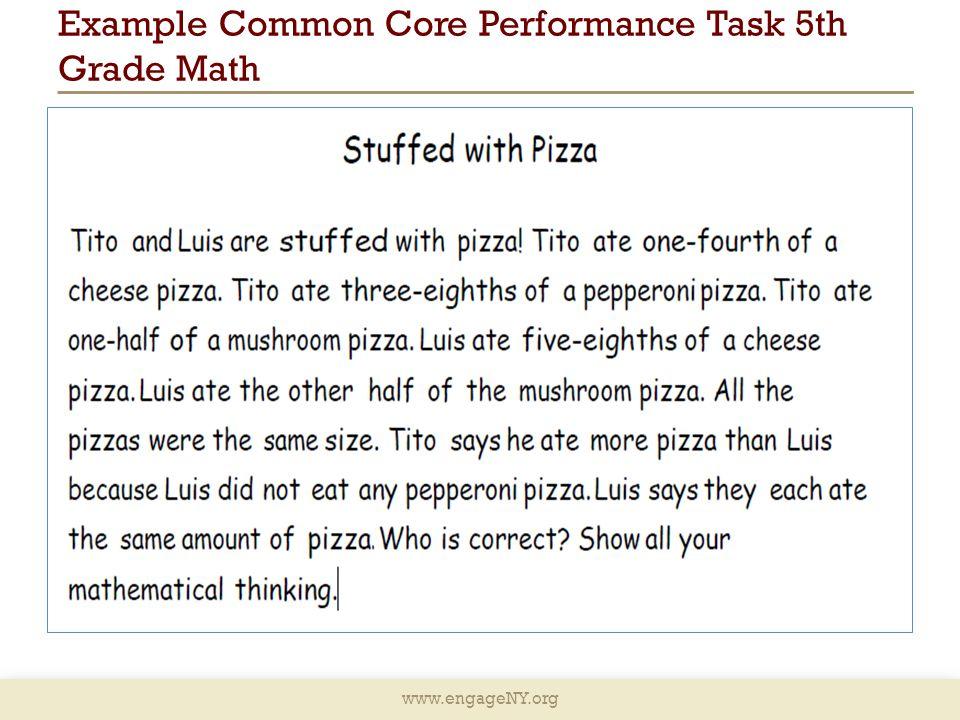 Example Common Core Performance Task 5th Grade Math