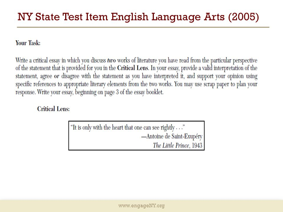 NY State Test Item English Language Arts (2005)
