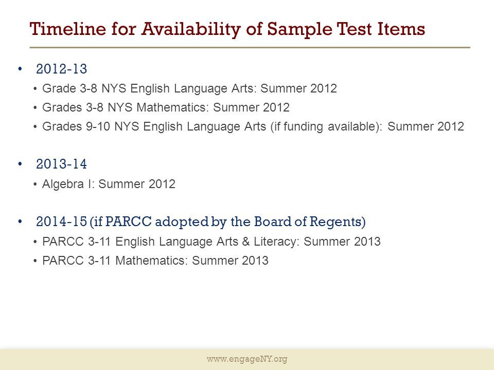 Timeline for Availability of Sample Test Items