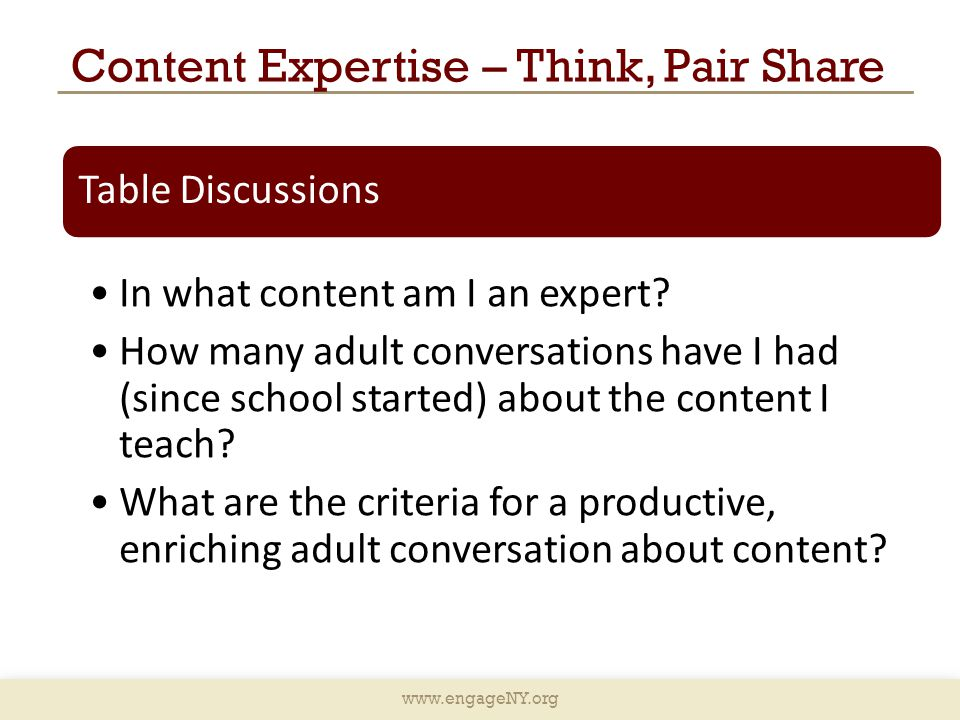 Content Expertise – Think, Pair Share