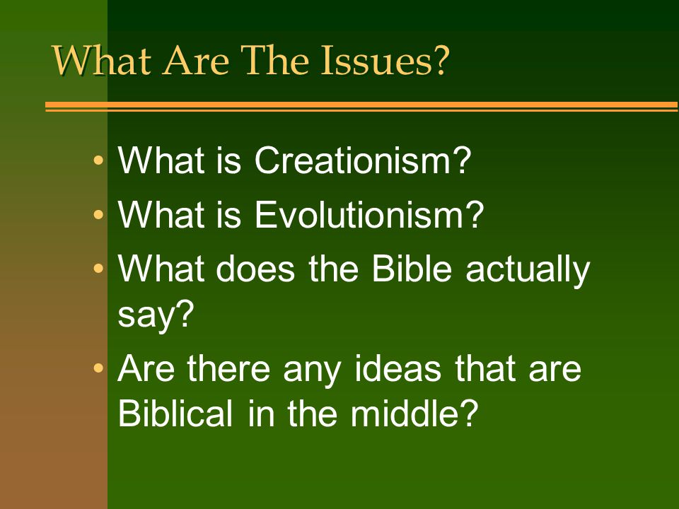 What Are The Issues What is Creationism What is Evolutionism