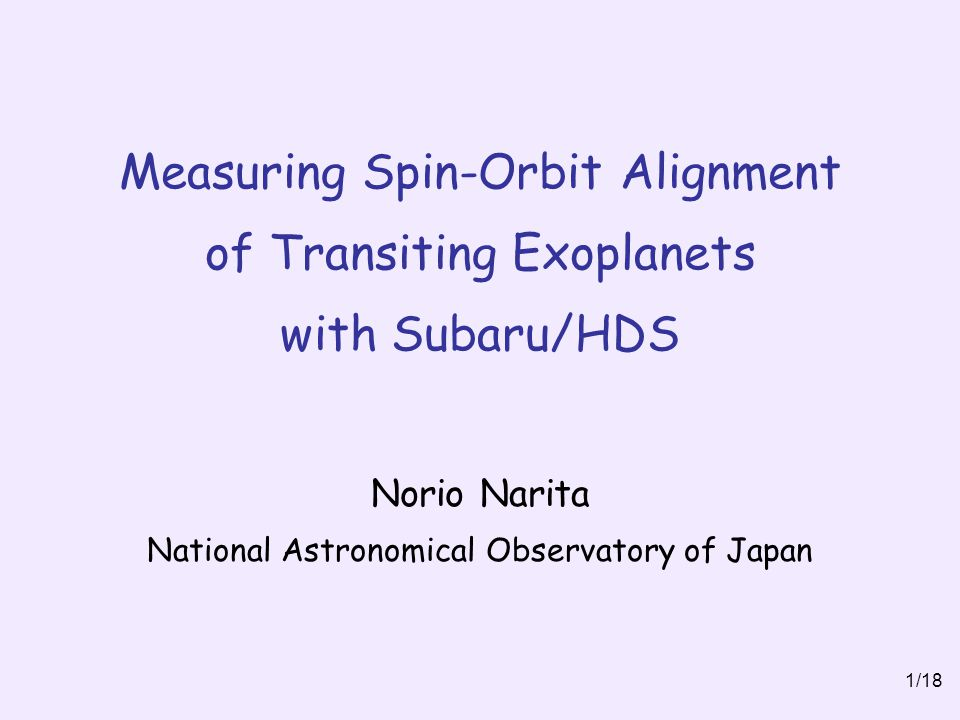 Norio Narita National Astronomical Observatory of Japan
