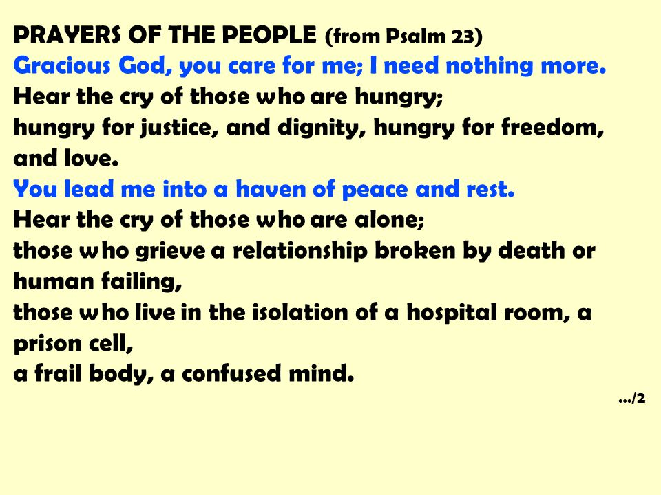 PRAYERS OF THE PEOPLE (from Psalm 23)
