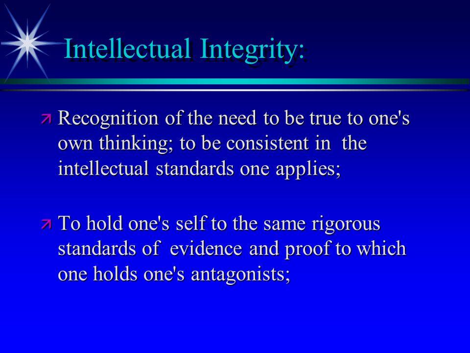 Intellectual Integrity: