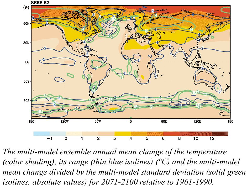 The multi-model ensemble annual mean change of the temperature (color shading), its range (thin blue isolines) (°C) and the multi-model mean change divided by the multi-model standard deviation (solid green isolines, absolute values) for 2071-2100 relative to 1961-1990.