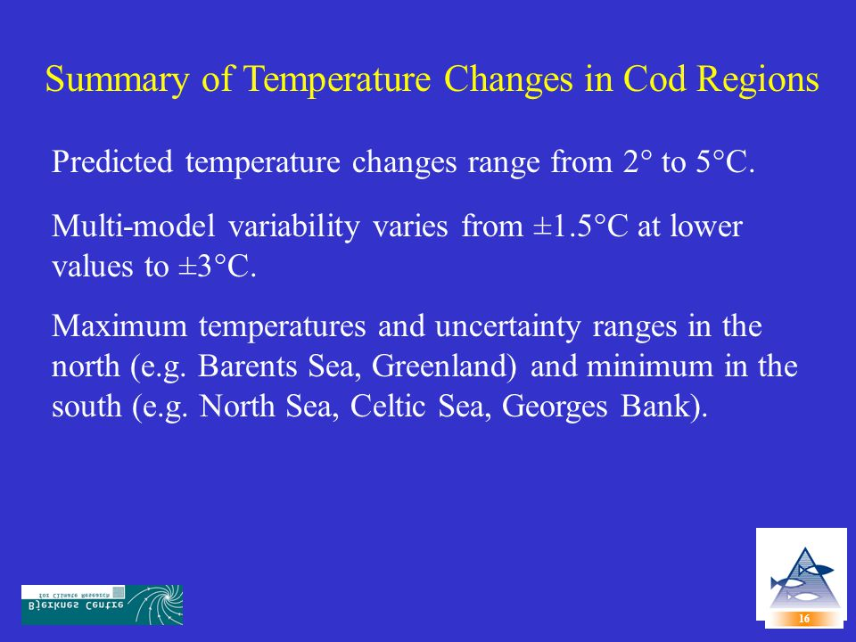 Summary of Temperature Changes in Cod Regions