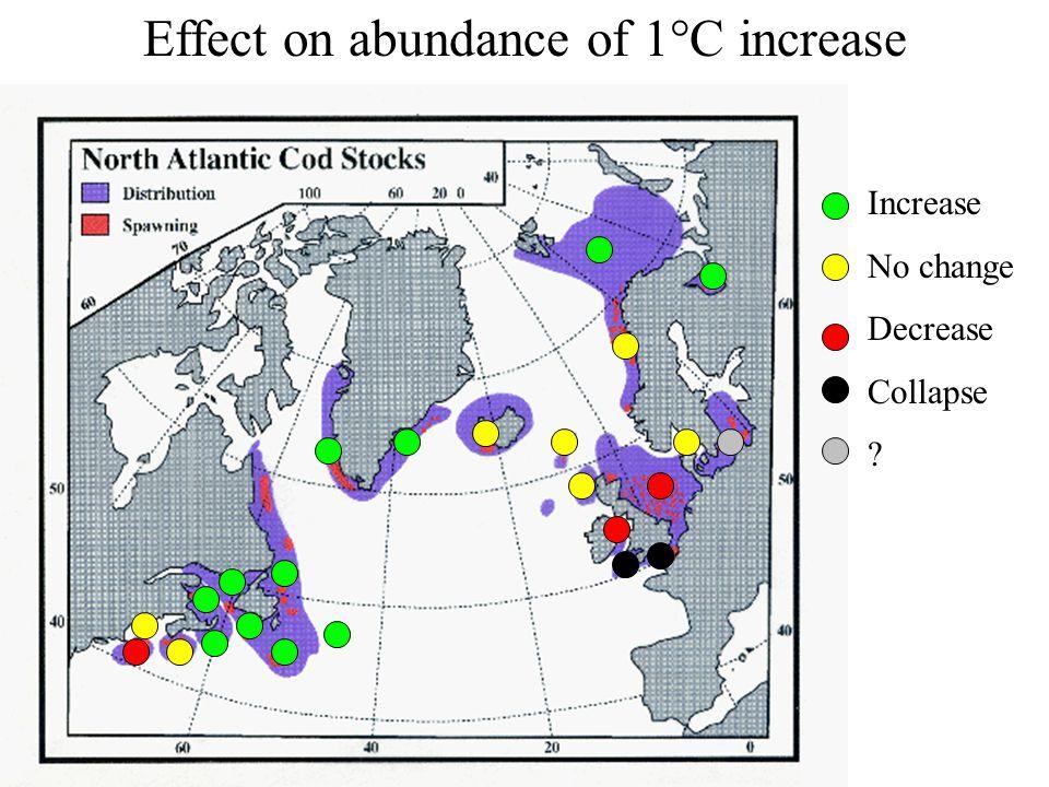 Effect on abundance of 1°C increase
