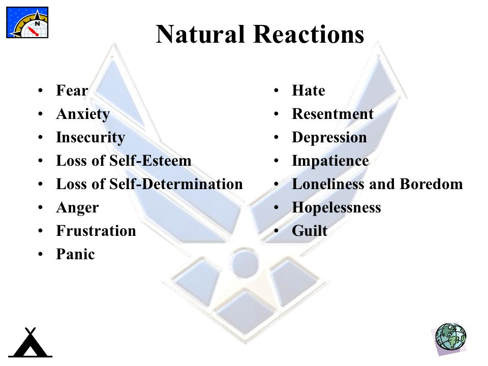 Natural Reactions Fear Anxiety Insecurity Loss of Self-Esteem