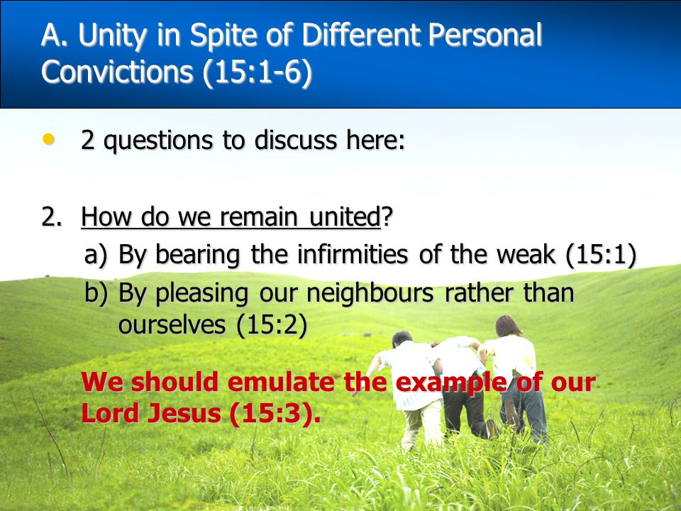 A. Unity in Spite of Different Personal Convictions (15:1-6)