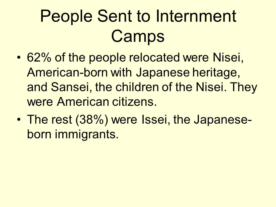 People Sent to Internment Camps