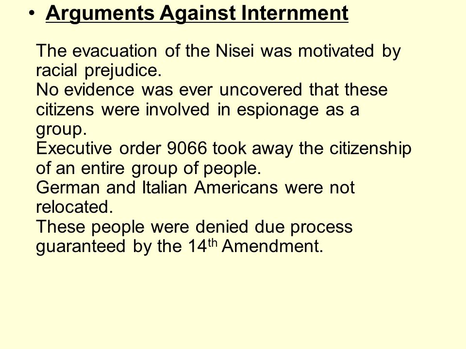 Arguments Against Internment