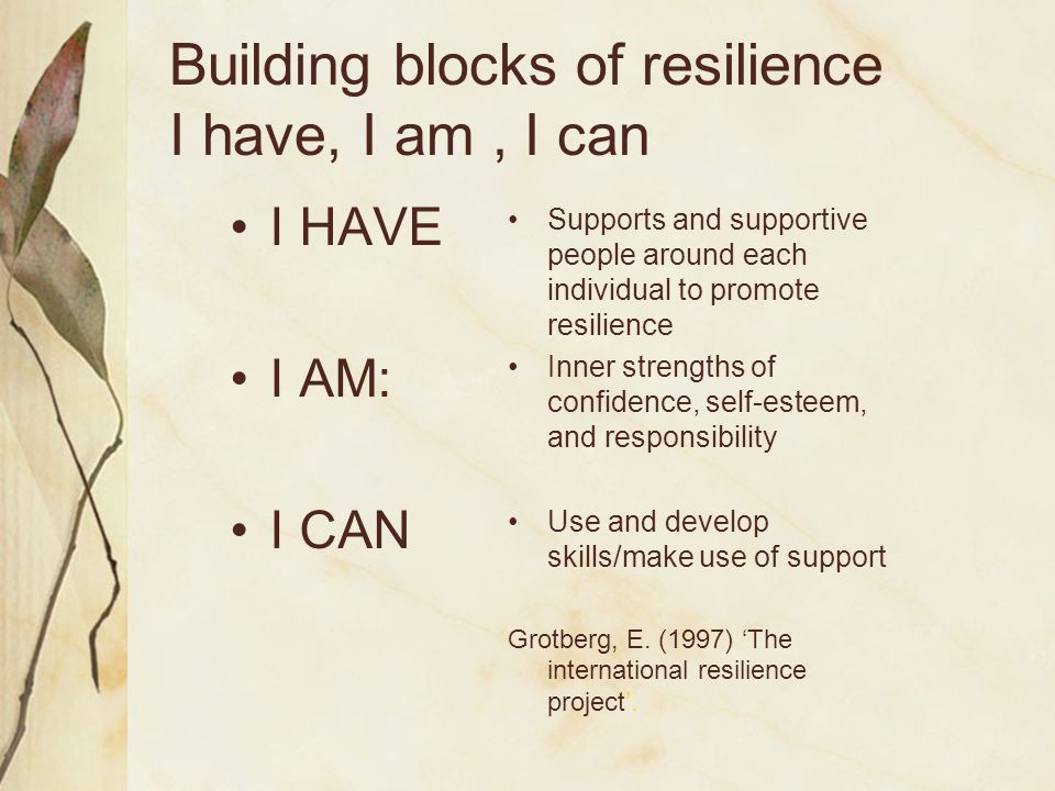 Building blocks of resilience I have, I am , I can