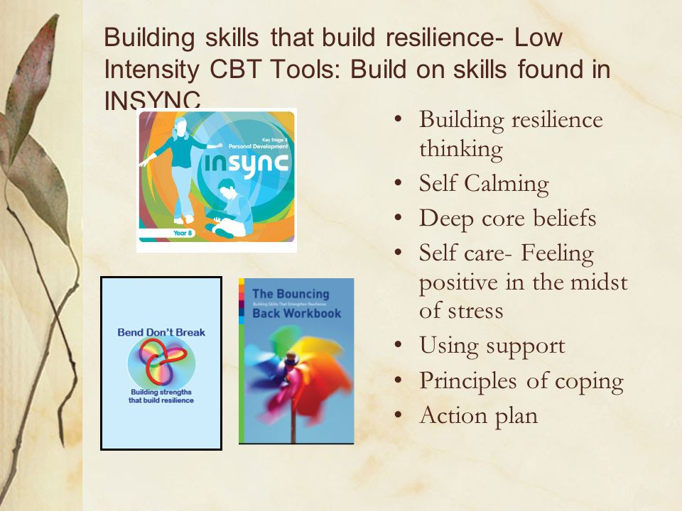 Building resilience thinking Self Calming Deep core beliefs