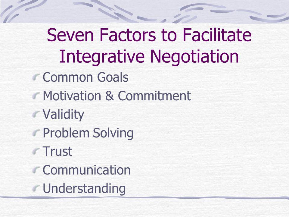 Seven Factors to Facilitate Integrative Negotiation