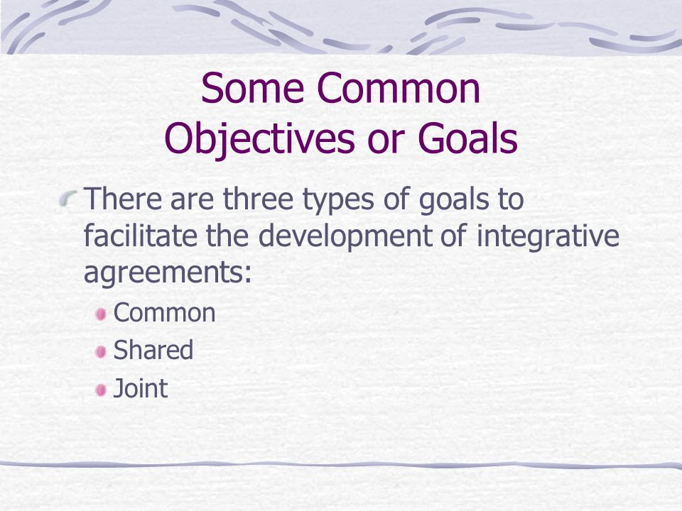 Some Common Objectives or Goals
