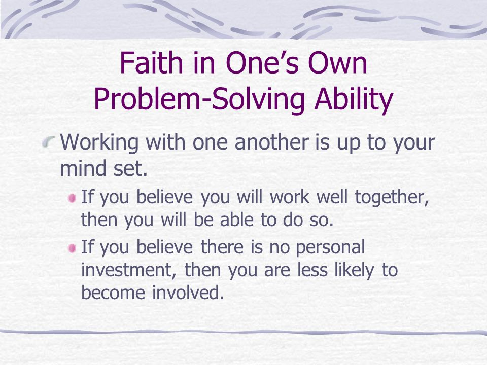 Faith in One's Own Problem-Solving Ability