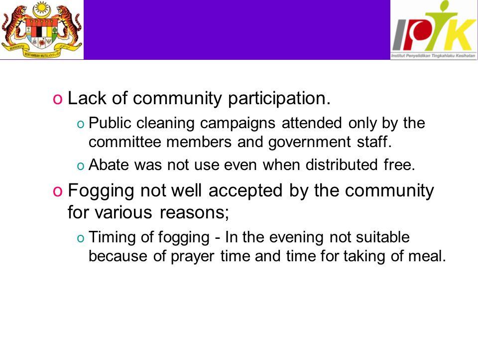 Lack of community participation.