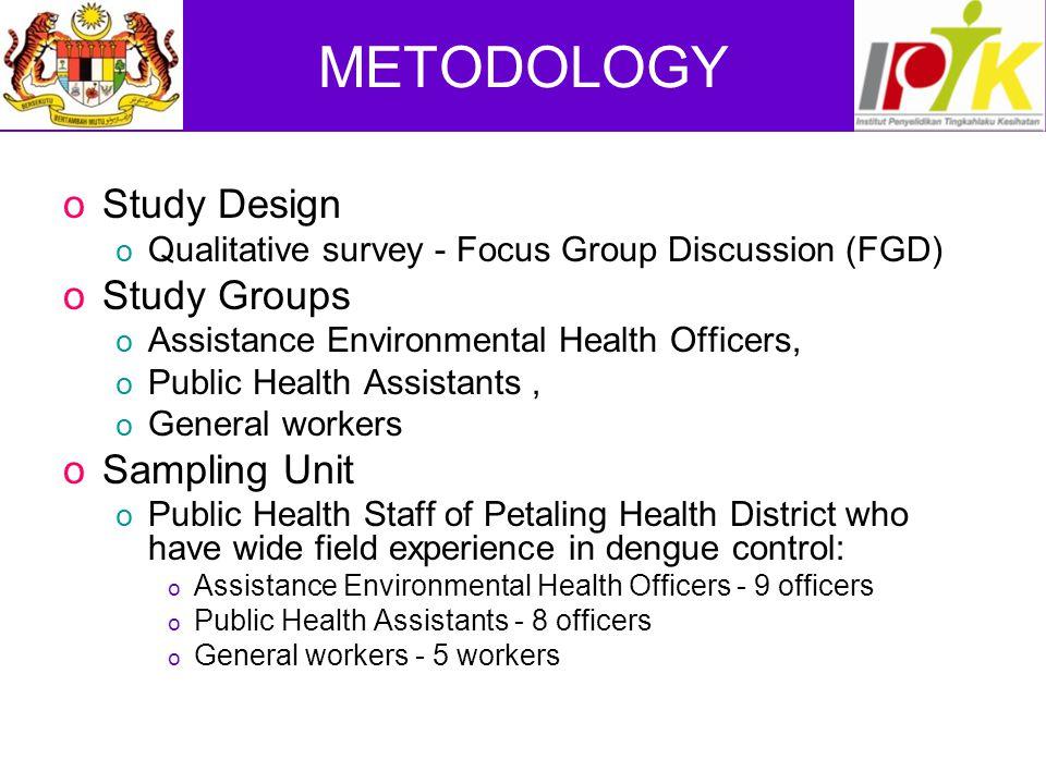 METODOLOGY Study Design Study Groups Sampling Unit