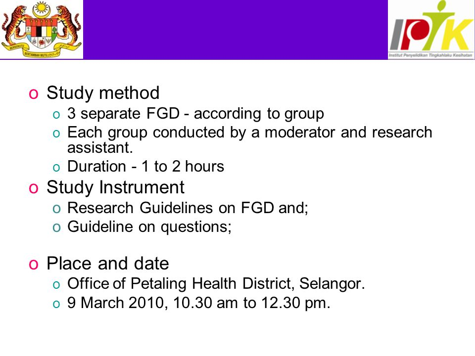 Study method Study Instrument Place and date