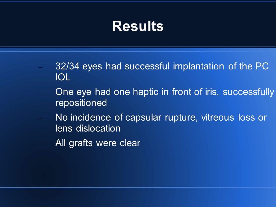 Results 32/34 eyes had successful implantation of the PC IOL