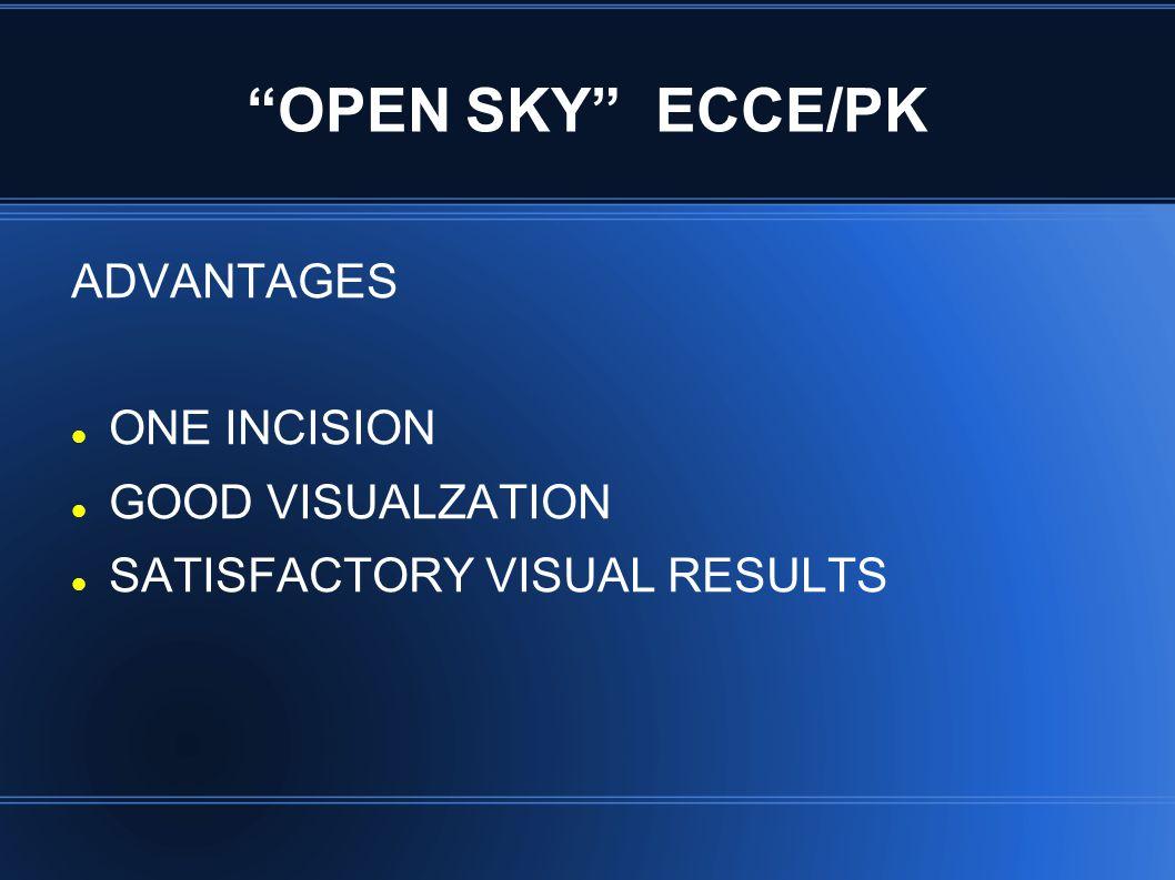 OPEN SKY ECCE/PK ADVANTAGES ONE INCISION GOOD VISUALZATION