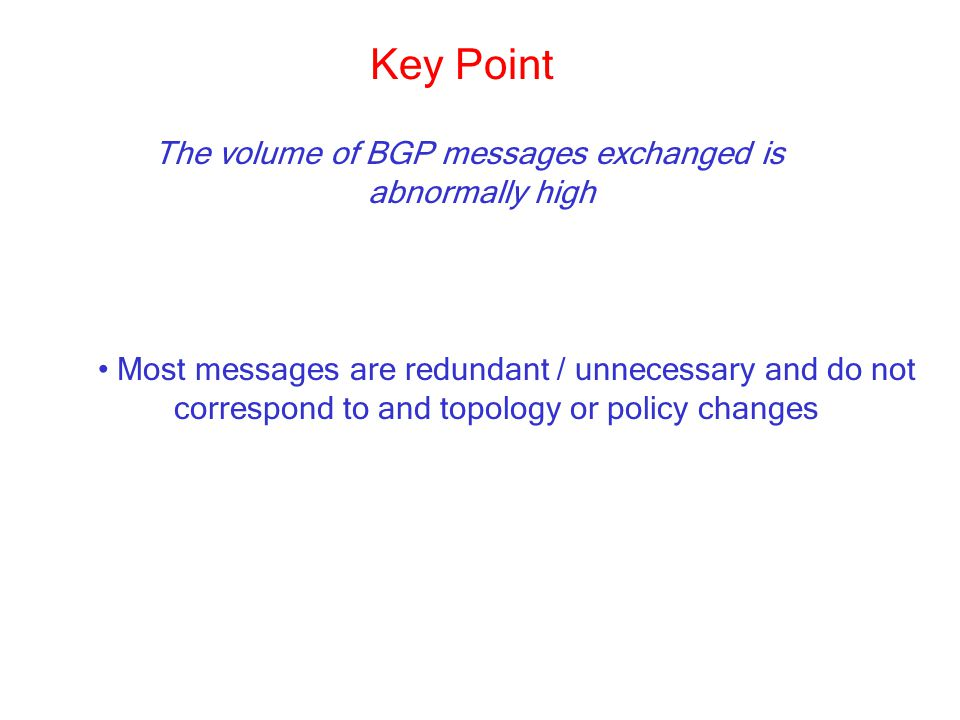 The volume of BGP messages exchanged is