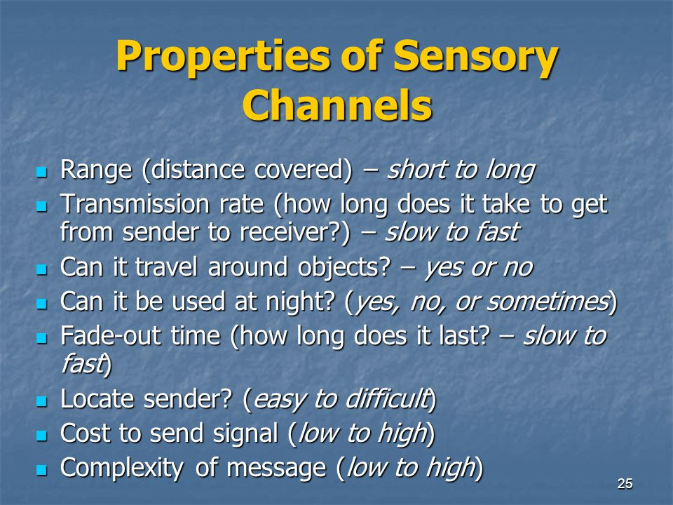 Properties of Sensory Channels