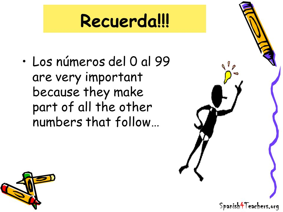 Recuerda!!! Los números del 0 al 99 are very important because they make part of all the other numbers that follow…