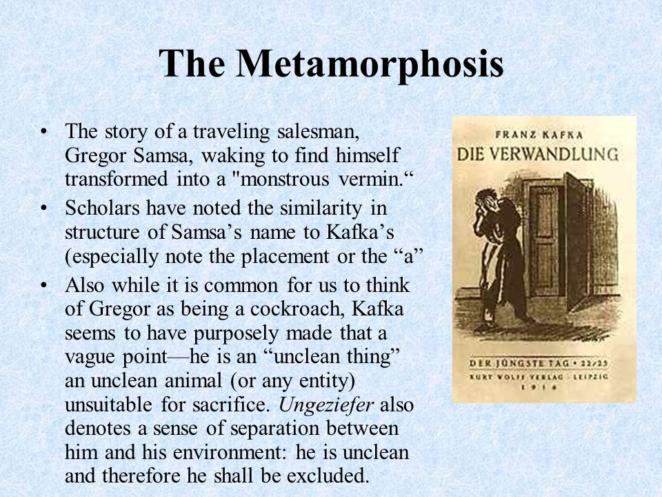 The Metamorphosis The story of a traveling salesman, Gregor Samsa, waking to find himself transformed into a monstrous vermin.