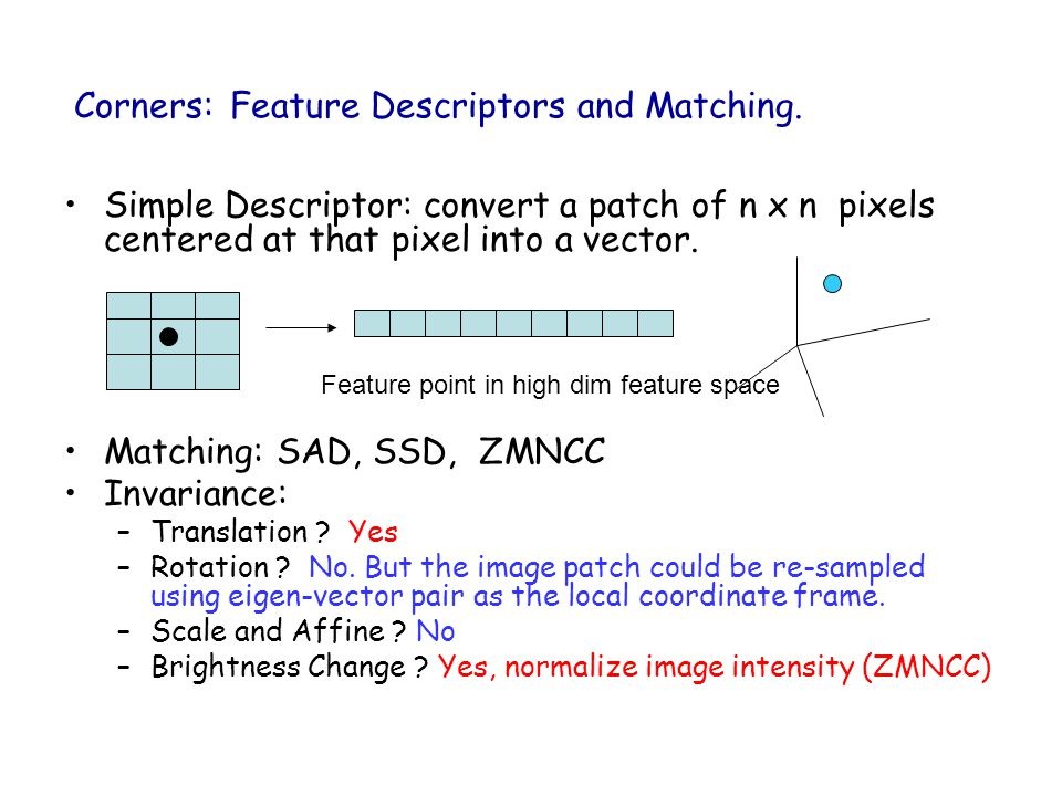 Corners: Feature Descriptors and Matching.
