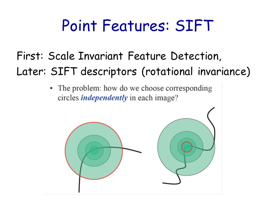Point Features: SIFT First: Scale Invariant Feature Detection,