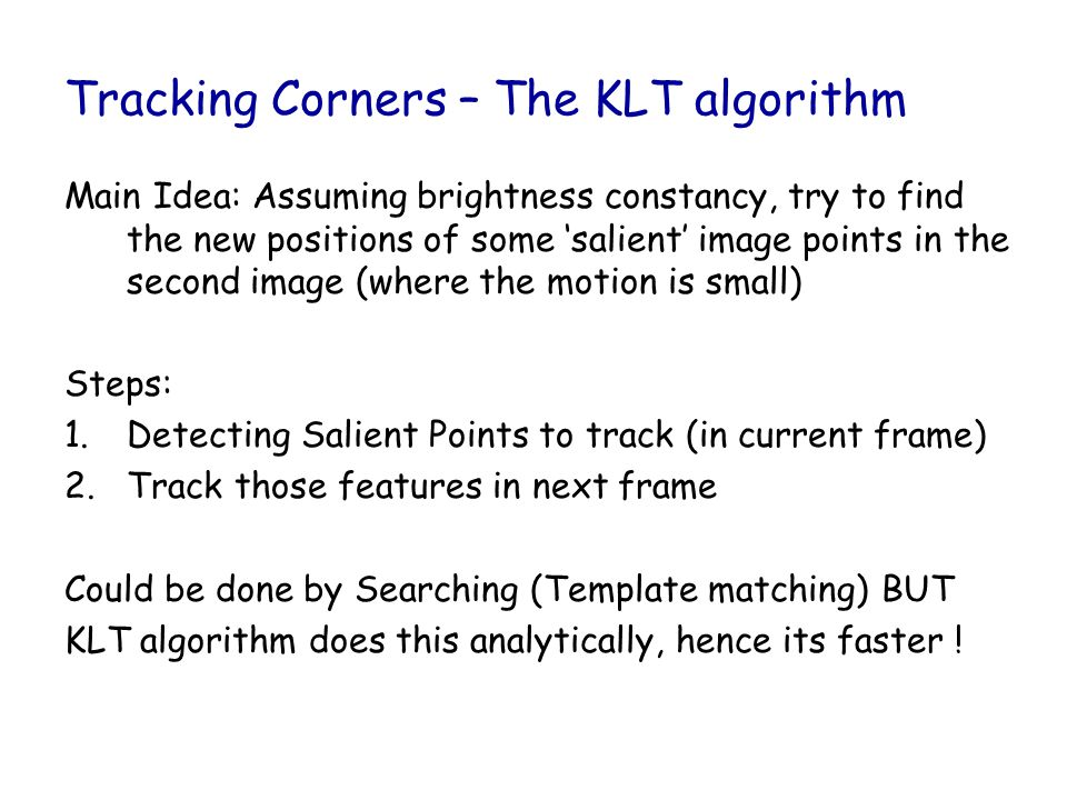 Tracking Corners – The KLT algorithm