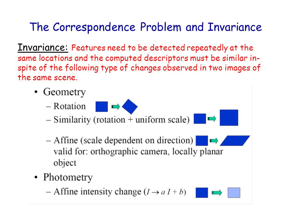 The Correspondence Problem and Invariance