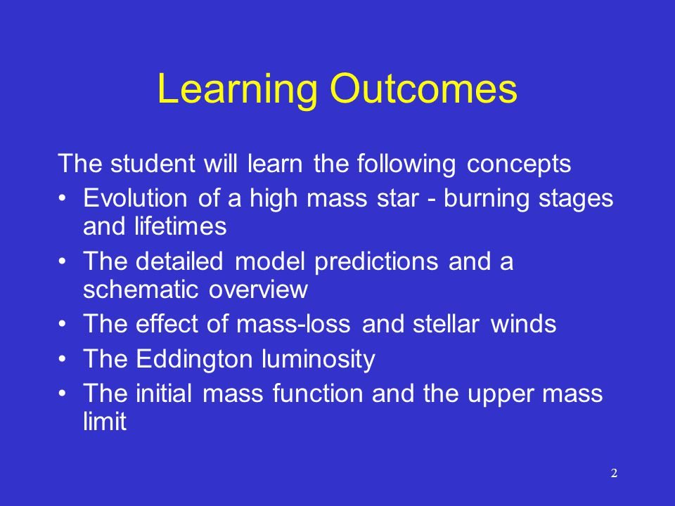 Learning Outcomes The student will learn the following concepts