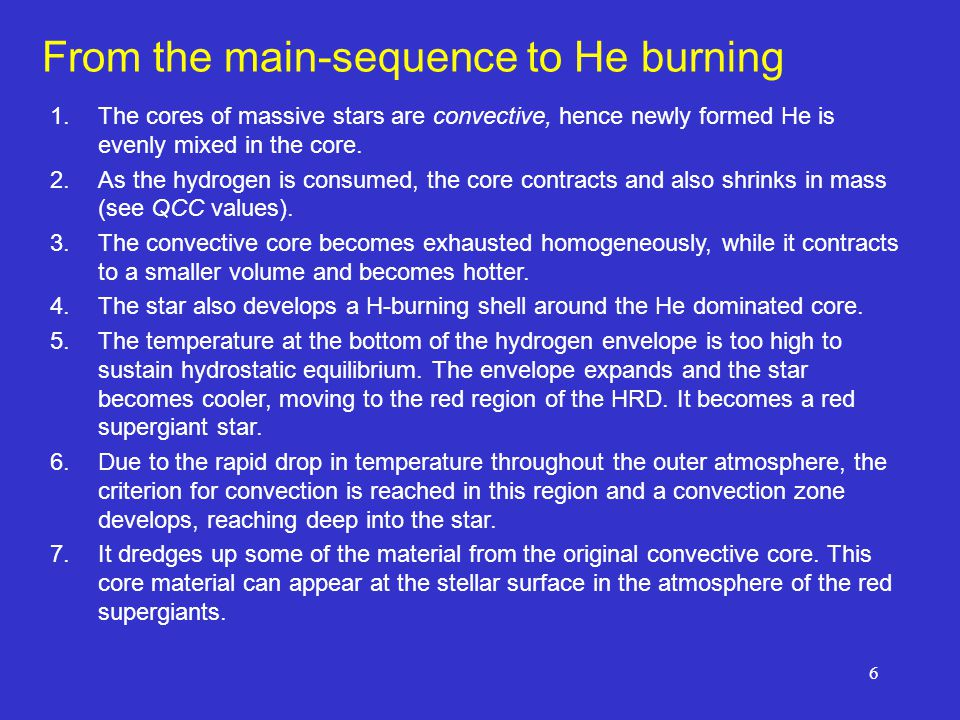 From the main-sequence to He burning